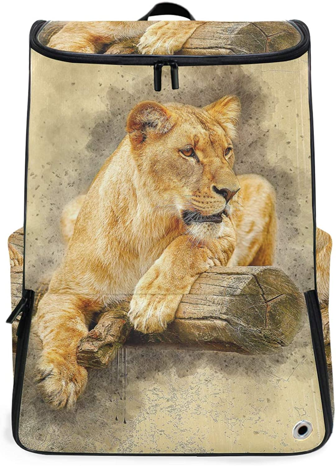 FANTAZIO Africa Tiger Lay On Wood Professional Weekender CarryOn Backpack for Travel & Business