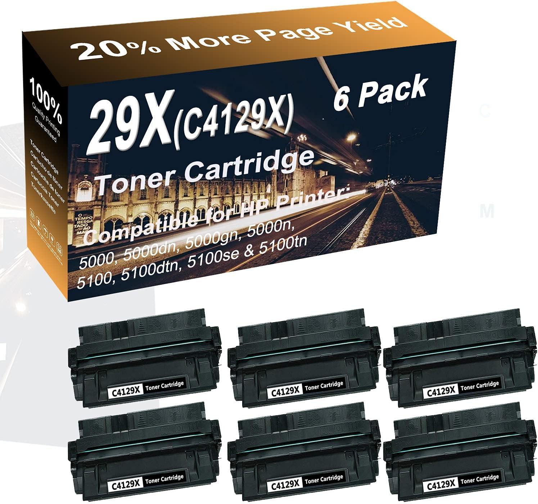 6-Pack (Black) Compatible High Yield 29X (C4129X) Printer Toner Cartridge use for HP 5000gn, 5000n, 5100 Printer