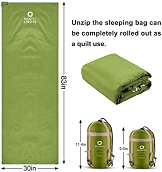 ECOOPRO Warm Weather Sleeping Bag - Portable, Waterproof, Compact Lightweight, Comfort with Compression Sack - Great ...