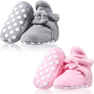 2 Pairs Baby Fleece Booties Stay On Slipper Sock Crib Shoes with Non Skid Bottom (Cotton Style with Plush Lining)