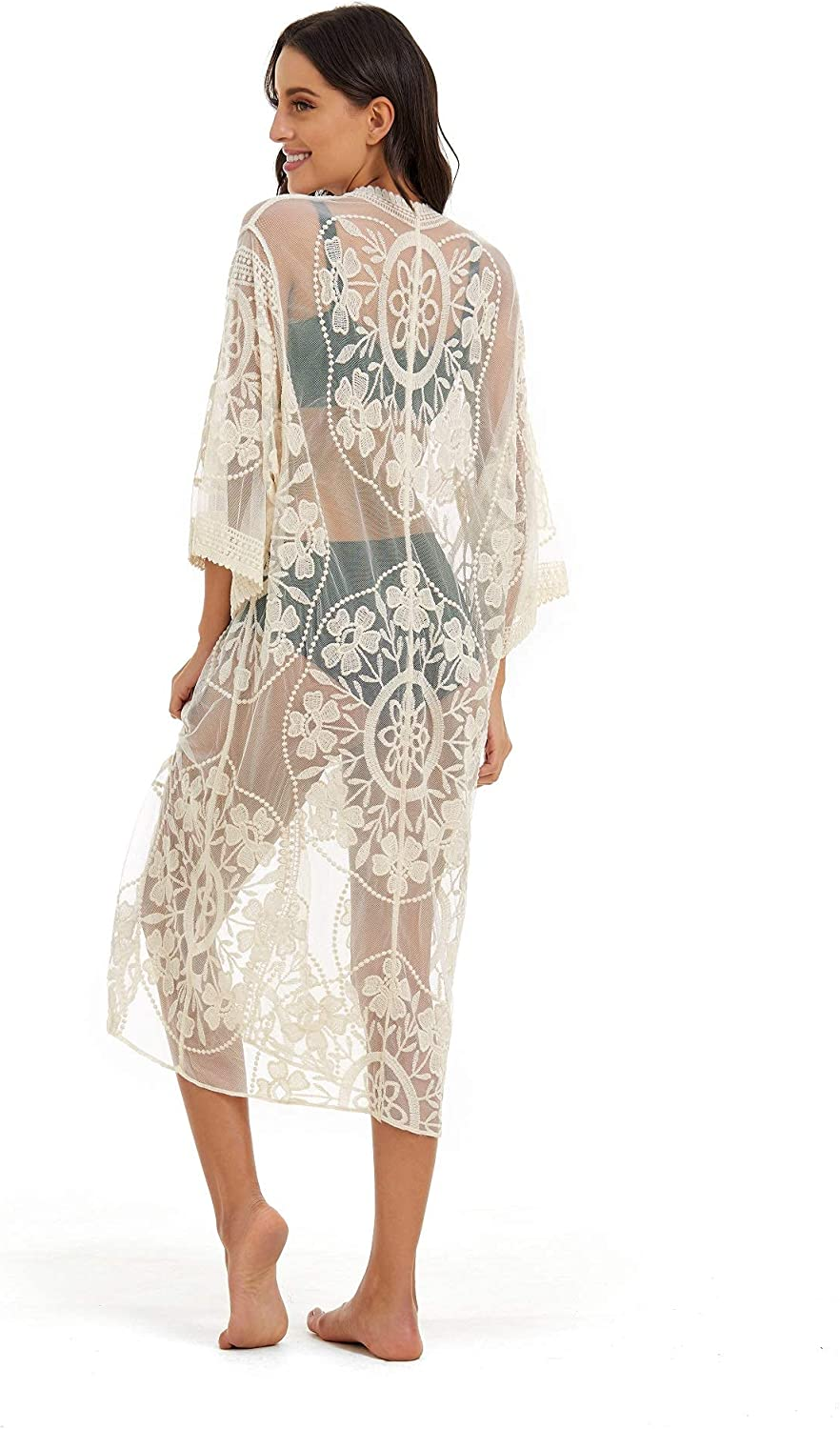 marysgift Cover Ups for Women Crochet Embroidered Lace Kimono Cardigan Long Sheer Maxi Dress Size US 4-18