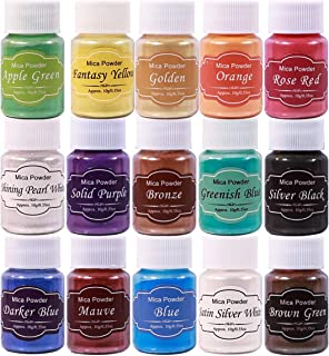 Biutee Mica Powder Slime Powder 15 colors 0.35oz Pearlescent Soap Making dye Food Grade Skin Safe Resin Dye for Soap Making/Bath Bomb/Resin Jewelry/Nail Art/Eyeshadow DIY/Candle Making