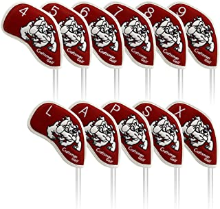 Craftsman Golf 11pcs (4,5,6,7,8,9,A,S,P,L,X) Dog Waterproof Pu Leather Iron Headcover Head Covers Set for Taylormade,Callaway and Other Brand