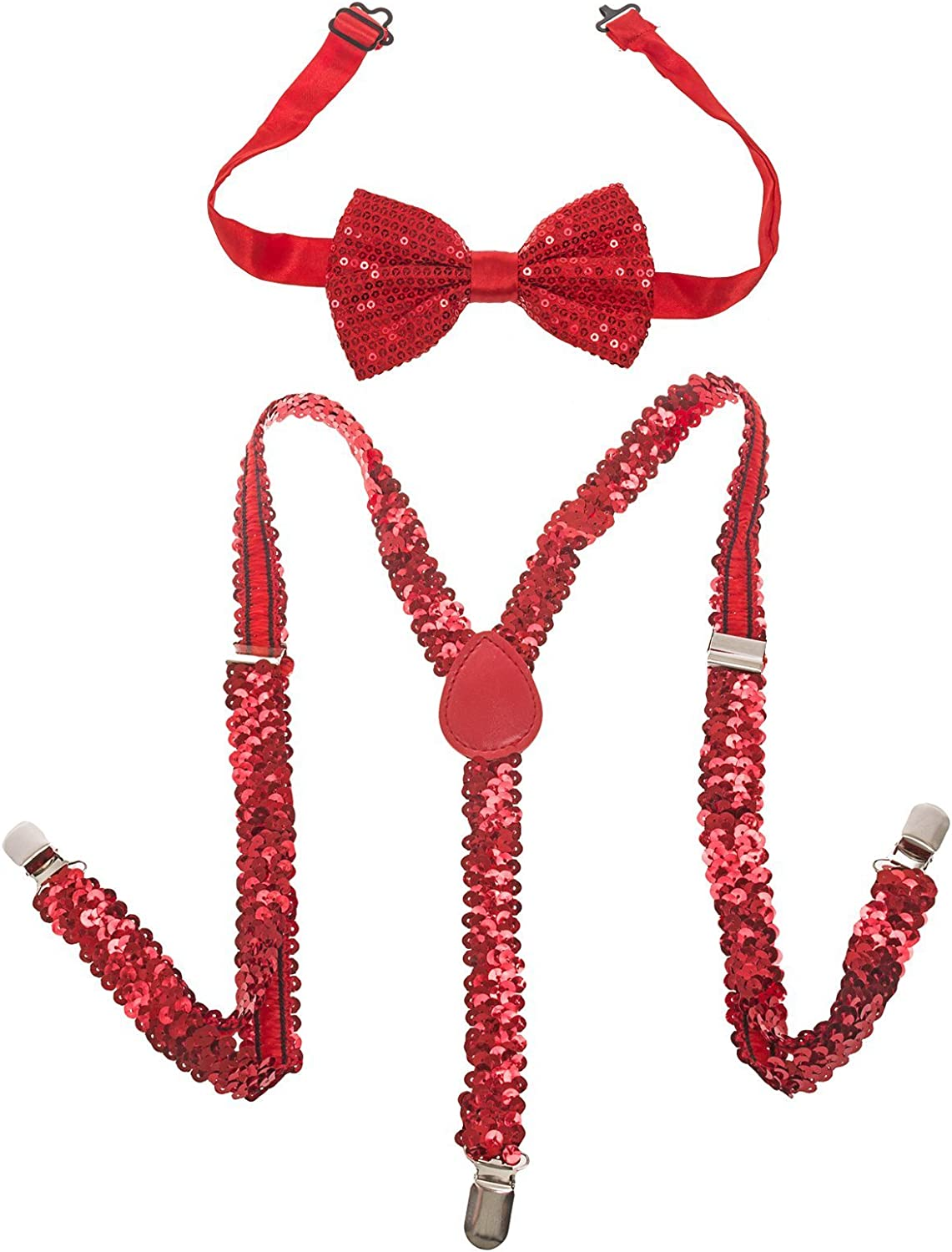 Buckletown Mens Sequined Suspender & Bow Tie Combo Pack (Red)
