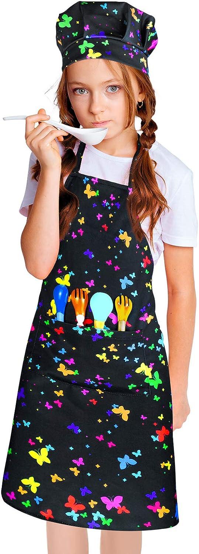 ZukoCert 5-10Years Children Aprons For Girls Boy Unicorn/&Dinosaur Kids Art Aprons Kids Smocks For Cooking,Baking,Painting
