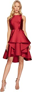 Halston Heritage womens Sleeveless Boatneck Dress with Dramatic Skirt Cocktail Dress