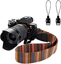WANBY Camera Soft Shoulder Neck Strap with Free Quick Release Buckles Universal Camcorder Belt Strap Vintage Antislip Strap for Women Men All DSLR SLR Cameras (Multicolor)