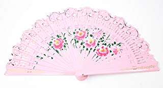 We pay your sales tax Pink Double Sided Wooden Spanish Floral Print Design Hand Folding Fan Party Decoration Gift