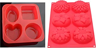 Clazkit Silicone Circle, Square, Oval and Heart Shape Soap Cake Making Mould, Multicolor & Clazkit - Yh-008 Silicone 6 Cav...