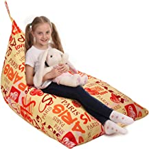 Stuffed Animal Storage Bean Bag - Cover Only - Large Triangle Beanbag Chair for Kids - 150+ Plush Toys Holder - Floor Pill...