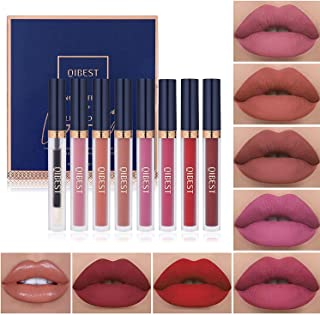 7Pcs Matte Liquid Lipstick + 1Pcs Lip Plumper Makeup Set Kit, Long Lasting Waterproof Velvet Lip Gloss Set, Pigmented Lip ...