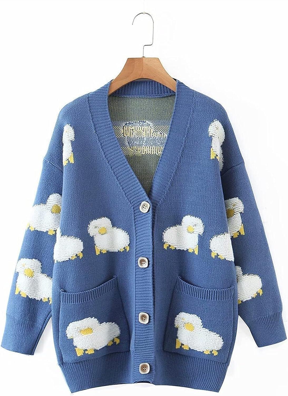 Spasm price Yuncheng Women's Cartoon Sheep Print Loose Knit Cardigan Sl Long New Shipping Free Shipping
