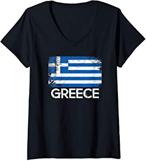 Womens Greek Flag Design | Vintage Made In Greece Gift V-Neck T-Shirt