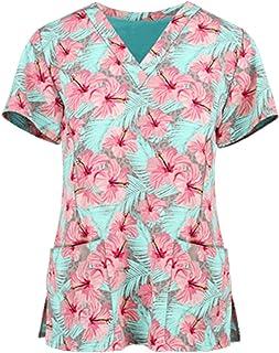VEMOW Tops de Mujer Uniforme de Trabajo Uniforme Estampado Camisa de Manga Corta Impresión de ECG Blusa con Cuello en V, T...