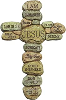 Dicksons Names of Jesus Christ Pebble 10 Inch Resin Decorative Hanging Wall Cross