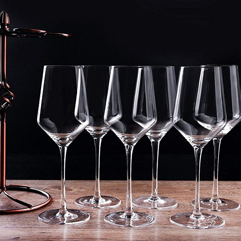 Red Wine Glasses Set Of 6 15 Ounce Lead Free Titanium Crystal Clear Glass Best For Birthday Anniversary Or Wedding Gifts