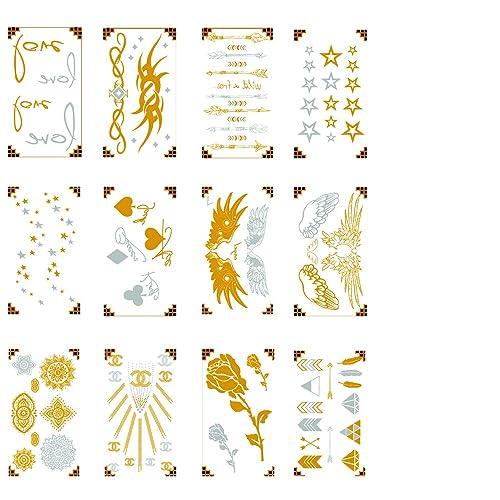 229d8964a Premium Metallic Fresh Tattoos - 75+ Designs in Gold and Silver - Temporary  Fresh Tattoo