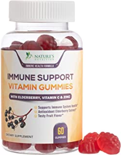 Immune Support Gummies with Elderberry, Vitamin C & Zinc, Natural Pectin Based Gummy, Adult Immune System Supplement - Tasty Natural Fruit Flavor - 60 Gummies