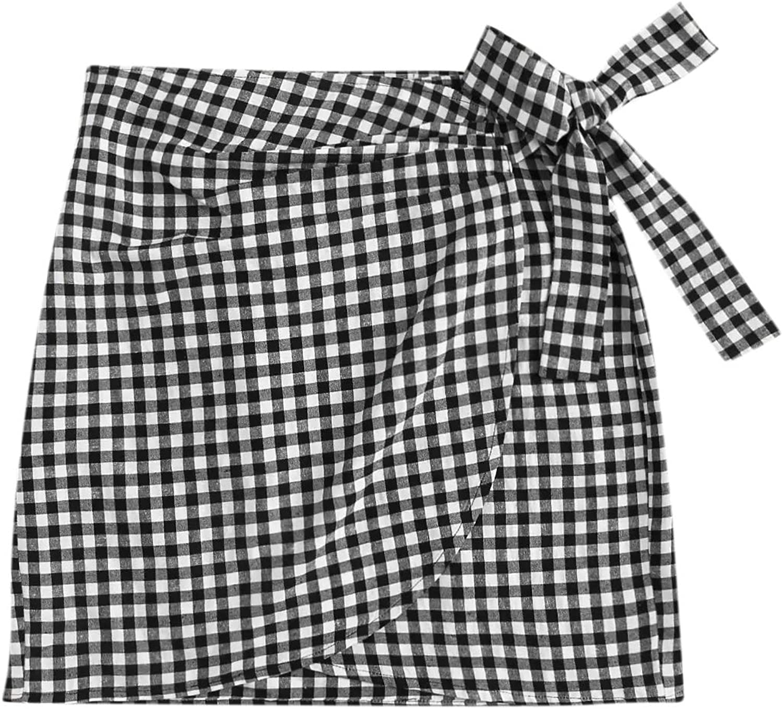 WDIRARA Women's Mid Waist Gingham Print Asymmetrical Wrap Knotted Skirt Black and White