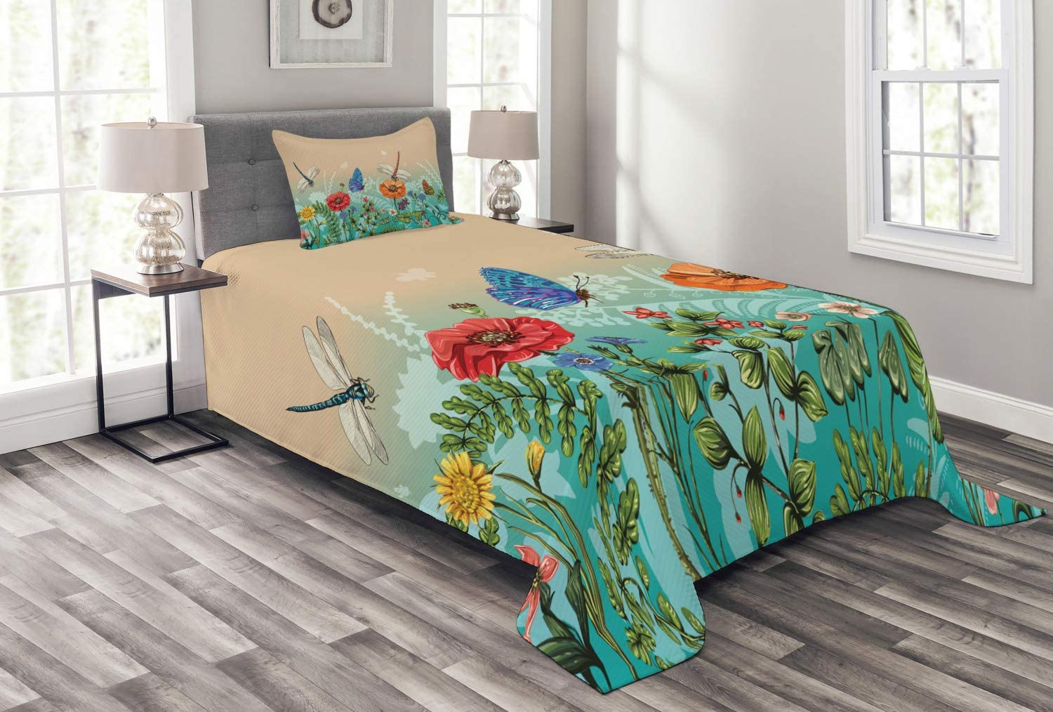 Ambesonne Spring Bedspread, Flourishing Nature Illustration with Butterflies and Dragonflies Colorful Pattern