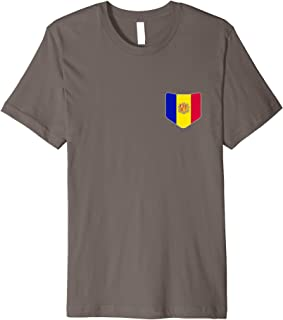 Andorra Flag T-Shirt with Printed Andorran Flag Pocket