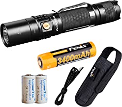 Fenix UC35 V2.0 1000 Lumen Rechargeable Tactical Flashlight with Rechargeable Battery and 2X Backup Lumen Tactical CR123A ...