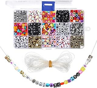 1100 Pieces A-Z Letter Beads, 7x4mm Sorted Alphabet Beads and White Acrylic Letter Bead Kit, Vowel Letter Beads for Jewell...