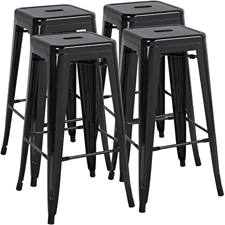 Amazon Com Furmax 30 Inches Metal Bar Stools High Backless Stools Indoor Outdoor Stackable Stools Set Of 4 Black Home Kitchen