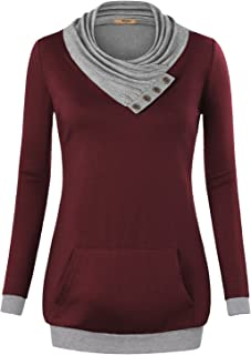 Womens Cowl Neck Long Sleeve Pullover Tunic Sweatshirts with Pocket