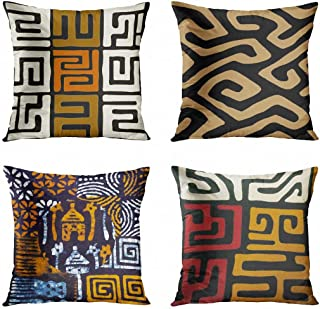 ArtSocket Set of 4 Throw Pillow Covers Orange Tribal Kuba Inspired Earth Colors Geometric..