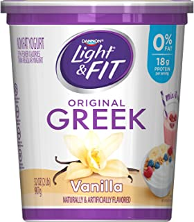 Dannon Light & Fit Nonfat Greek Yogurt, Vanilla, 32 Ounce Container Vanilla Flavored Greek Yogurt