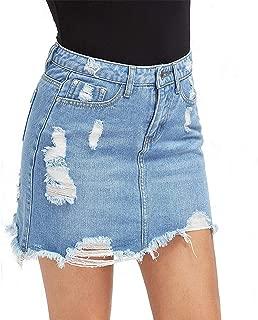Women Blue Ripped Casual Mini Denim Skirt New Summer New Bodycon Women Skirt Basic Pocket Jeans Skirt Mid Waist Skirt