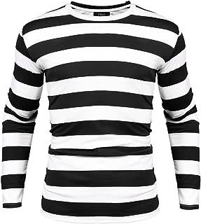 Mens Basic Striped T-Shirt Crew Neck Cotton Vintage Couple Casual Halloween Slim Fit Stripes Top Tees S-XXL