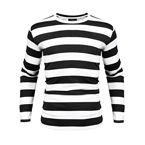 dc6df23556e iClosam Men s Crew Neck Basic Striped T-Shirt Long Sleeve and Short Sleeve  Cotton Shirt