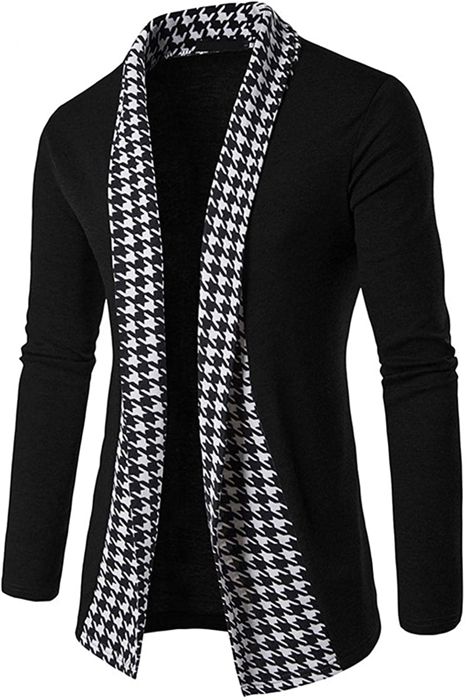 FUNEY Mens Cardigan Plaid Patchwork Knitted Lapel Collar Lightweight Cotton Blend Long Length Drape Cape Overcoat