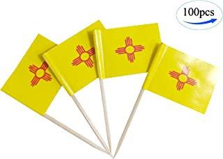 JBCD New Mexico Flags Toothpick New Mexican 100 Pcs Cupcake Toppers Flag NM State flag Tooth picks Flag Small Mini Stick flags Picks Party Decoration Cocktail Food Bar Cake Flags sticks for kids