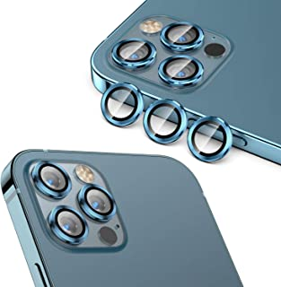 Cupecoo Fit for iPhone 12 Pro Max Camera Lens Protector (6.7 inch), HD Tempered Glass Screen Protector Metal Rings Cover f...