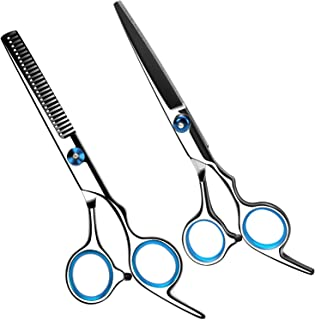 CNSSKJ Hairdressing Cutting Scissors Thinning Teeth Shears Set,Stainless Steel Home Hair cutting Shears Kit Salon Barber R...
