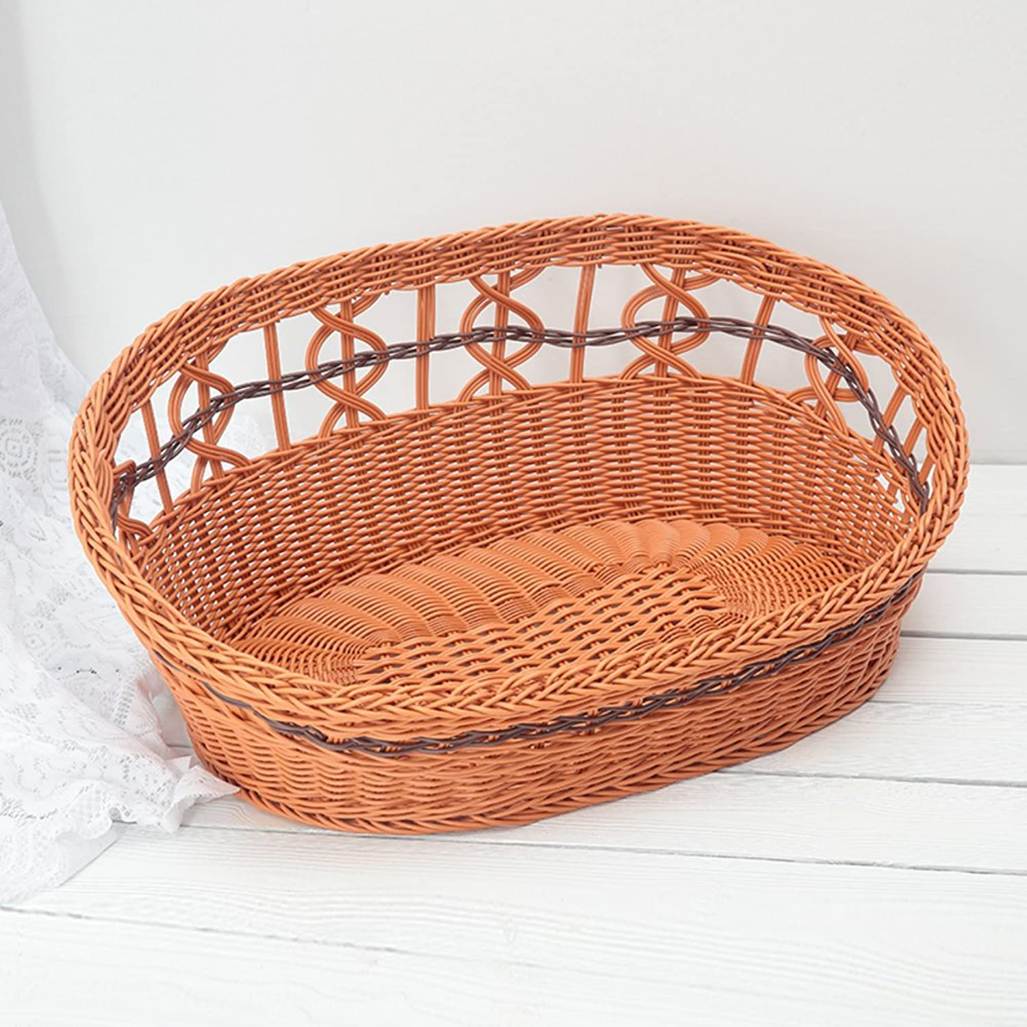 Best in spring and summer small dog Ivy litter Rattan PET plastic helical basketsA 36x25cm(14x10inch)