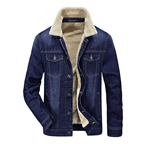 020e5453b9d Zicac Men Denim Jacket Cowboy Parka Sherpa Fleece Lining Blazer Lined Jean  Cardigan Military Outerwear Winter
