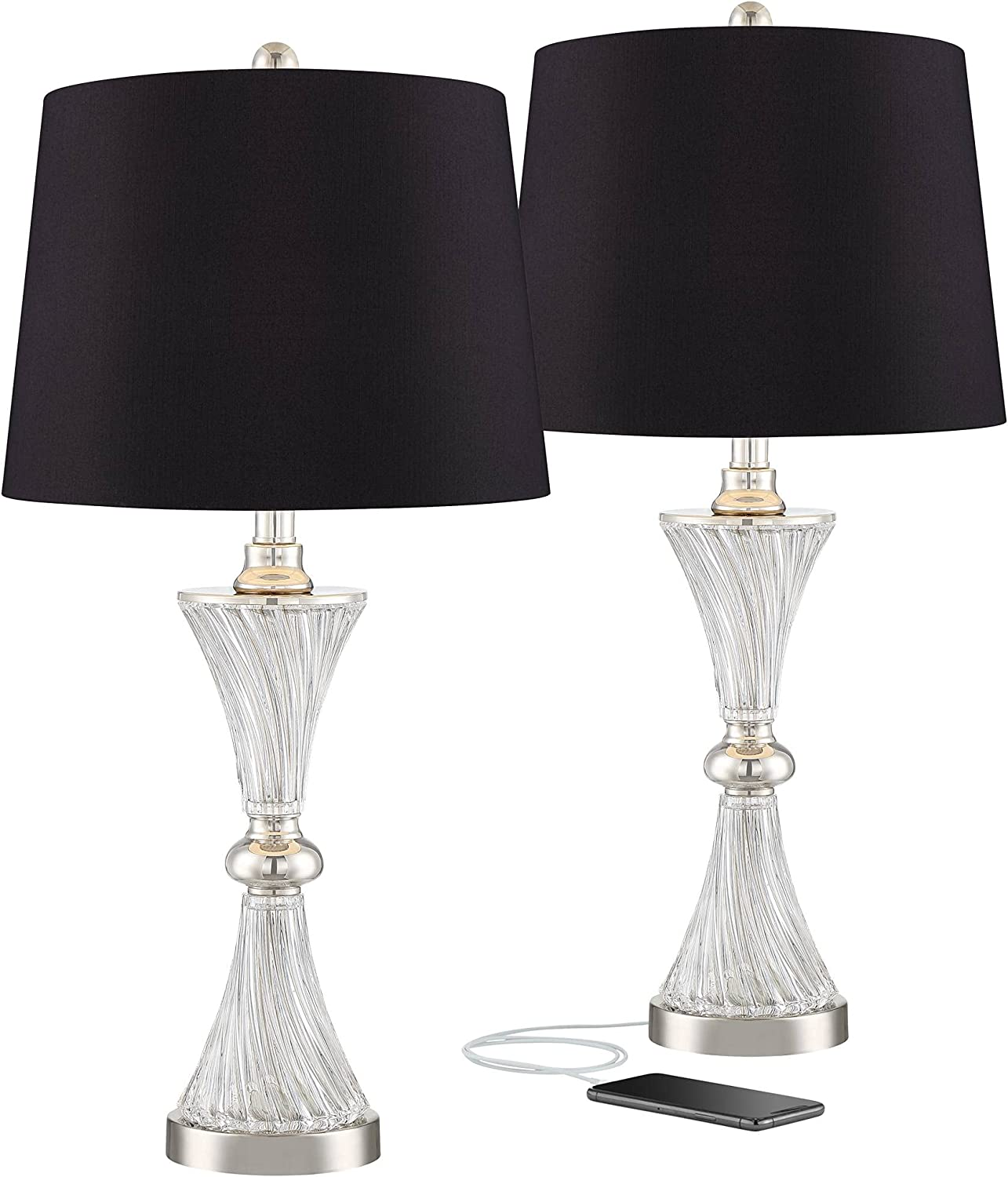 Luca Chrome Glass Black Shade Table Lamps of New arrival Set with Port USB Tulsa Mall 2