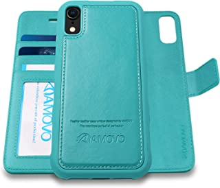 [Upgraded Version] AMOVO Case for iPhone XR [2 in 1] [Wireless Charger] iPhone XR Wallet Case Detachable [Vegan Leather] iPhone XR (6.1'') Flip Case with Gift Box Package (iPhone XR, Aqua)
