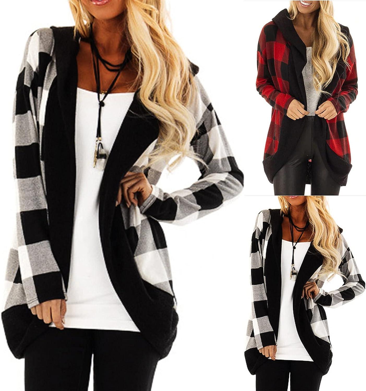 Popular popular Women's Hooded Cardigan Plaid Stitching Fashion Sleeve SEAL limited product Long Jack