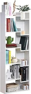 HOMCOM Estantería de 6 Niveles Librería Vertical de Forma Irregular Diseño Moderno Sistema Antivuelco 60x21x1625 cm Blanco