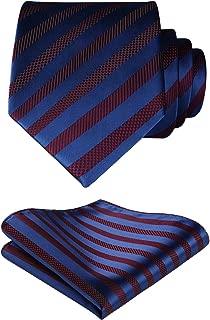HISDERN Men's Check Plaid Tie Handkerchief Woven Classic Necktie & Pocket Square Set
