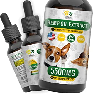 Hemp Oil for Dogs, Cats and All Pets, 5500 mg, 100% Organic Treat and Food Supplement Grown, Natural Support for Hips & Jo...