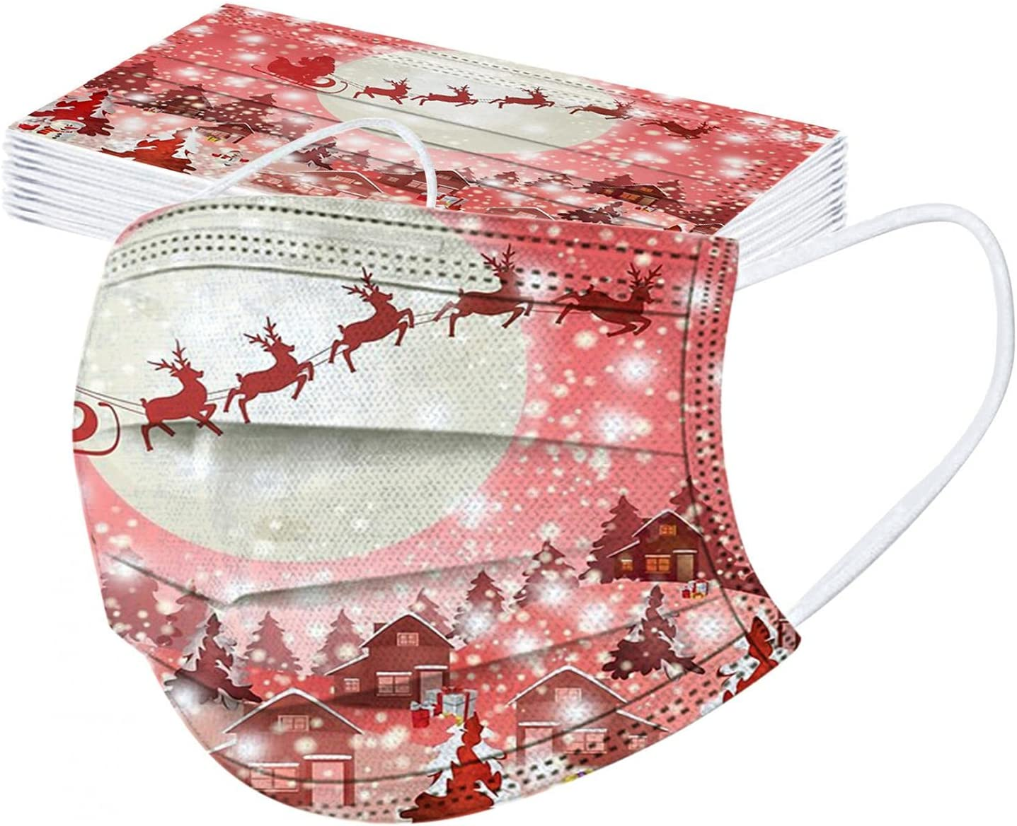 WANGPU Christmas Disposable Face Masks 10 Pack Kids 3 Ply Non-Woven Mouth Cover Breathable Protective for Boys Girls