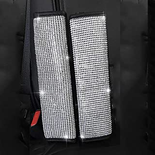 MLOVESIE 2 Packs Leather Seat Belt Shoulder Pads with Crystal Bling Bling Rhinestones for Girls,Lady Universal Fit (Full Bling)