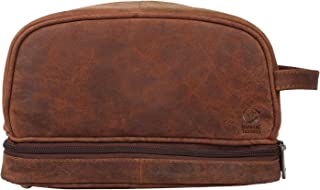 Handmade Buffalo Genuine Leather Toiletry Bag Dopp Kit Shaving and Grooming Kit for Travel ~ Gift for Men Women ~ Hanging Zippered Makeup Bathroom Cosmetic Pouch Case by Rustic Town (Dark Brown)
