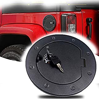 Micephon Locking Gas Tank Cap Fuel Filler Door Cover for Jeep Wrangler JK Unlimited Sport Rubicon Sahara 2007-2017 with lock
